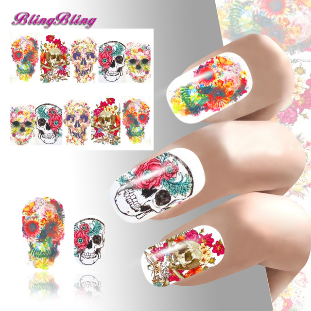 2pcs Theme Nail Art Sticker Waterslide Decals Design Nails Wraps Harajuku Bright Red Color
