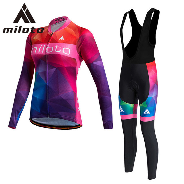 a8e6cd101 MILOTO Thin Long Sleeve Uniform Cycling Woman Cycling Clothes MTB Women s  Pants Cycling Suits Women 2018 Trousers Bib Body Fit