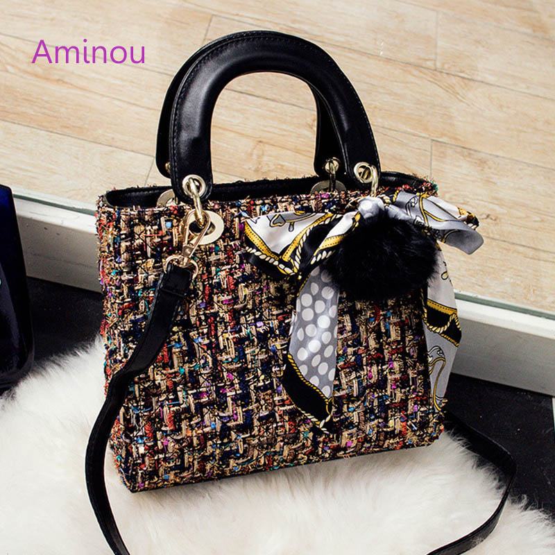 Aminou Luxury Shoulder Women Bags Designer High Quality Ladies  Messenger Bag Plaid Wool Hand Bags Handbags Famous Brands Bolsas vintage women bag high quality crossbody bags luxury designer large messenger bags famous brands female shoulder bag tassen flap
