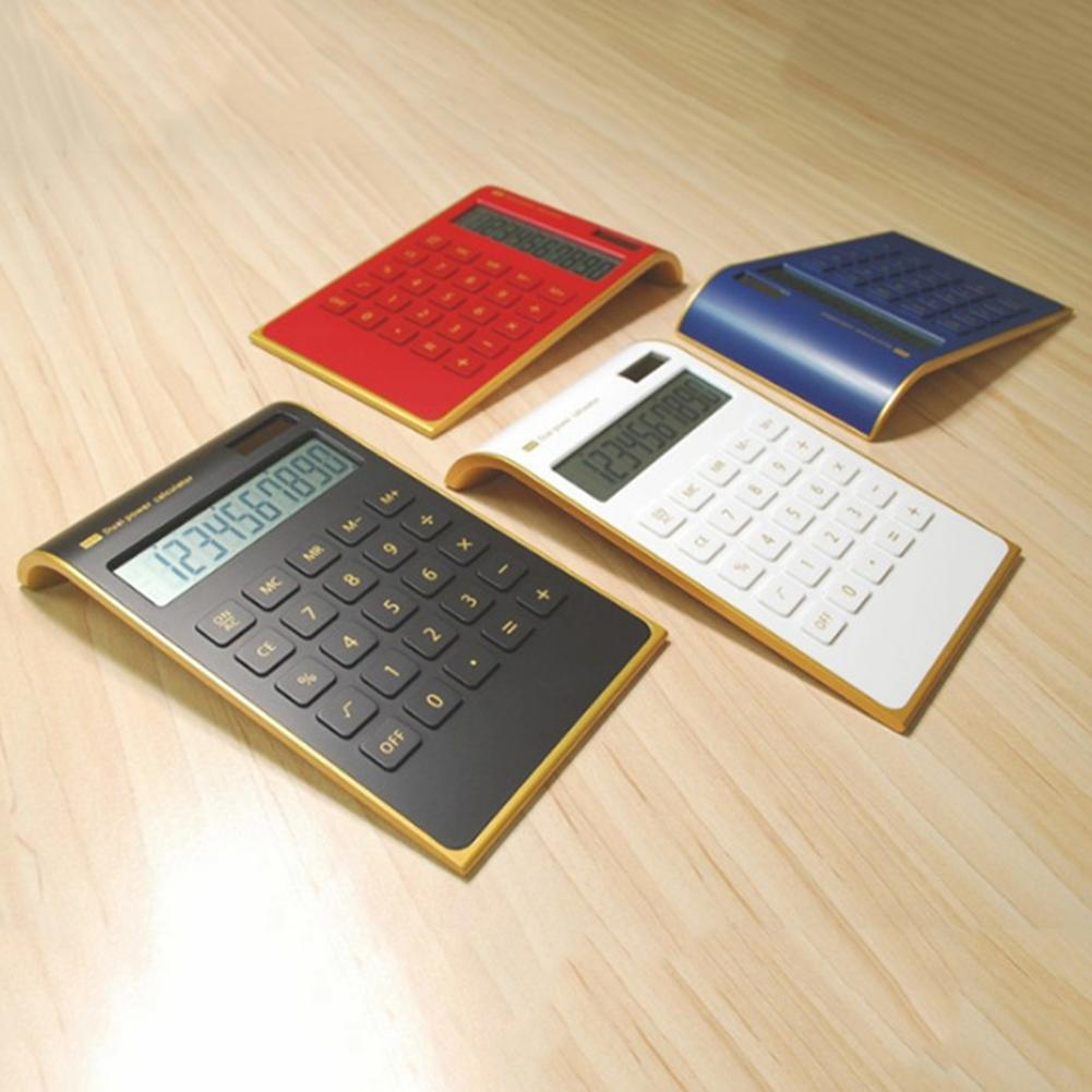 Solar Power Fashion Inclined School Office 10 Digits Desktop Calculator Tool  Battery Or Solar 2in1 Powered