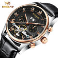 BINSSAW 2016 Men's watch Automatic mechanical watch tourbillon clock leather Casual business wristwatch relojes hombre top brand