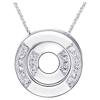 Wholesale 18k White Gold Plated Fashion Jewelry Chains Necklace Pendant The Two Circle N948