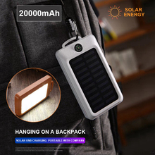 20000mAh Portable 2 USB LED Solar Power Bank With Compass Charger Support External Battery Powerbank 20000mah For Mobile Phones
