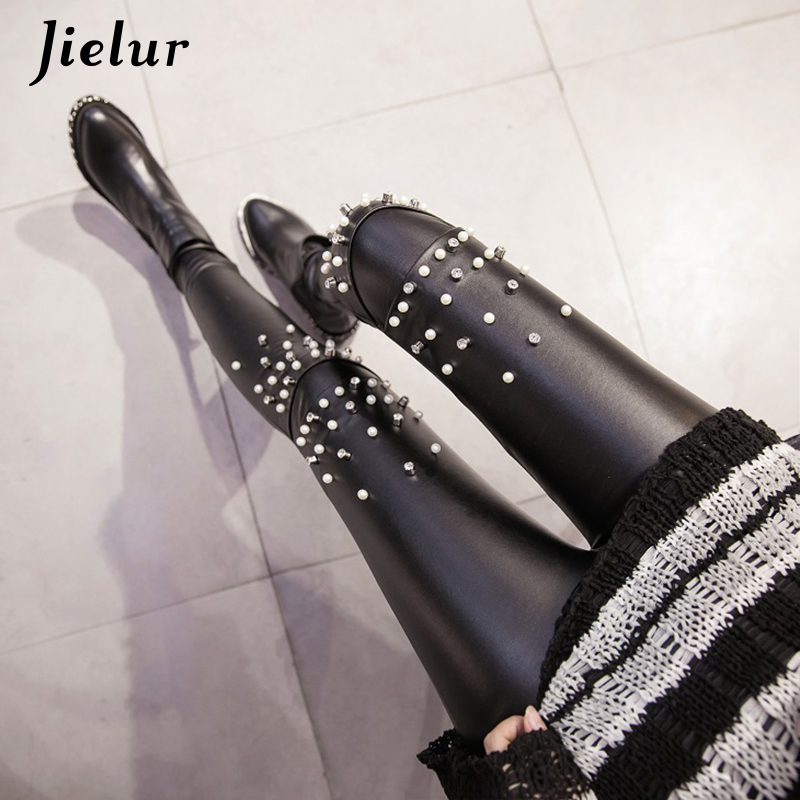 Jielur 2019 Winter New PU Faux Leather   Leggings   Fashion Rivets Lace Push up Female Leggins Warm High Street Women   Leggings   S-XXL