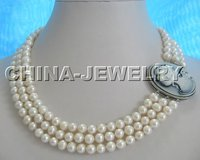 Beautiful 3row Natural WHITE 8mm FW Pearl Necklace Came Free Shippment