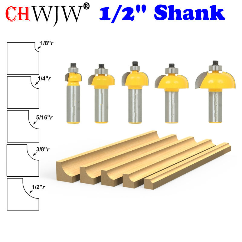 5 PC  1/2 Shank  Cove Router Bit Set Line knife Woodworking cutter Tenon Cutter for Woodworking Tools-CHWJW 13522 1 2 2 hss milling bits shank round nose cove core box router bit shaker cutter tools for woodworking 2902