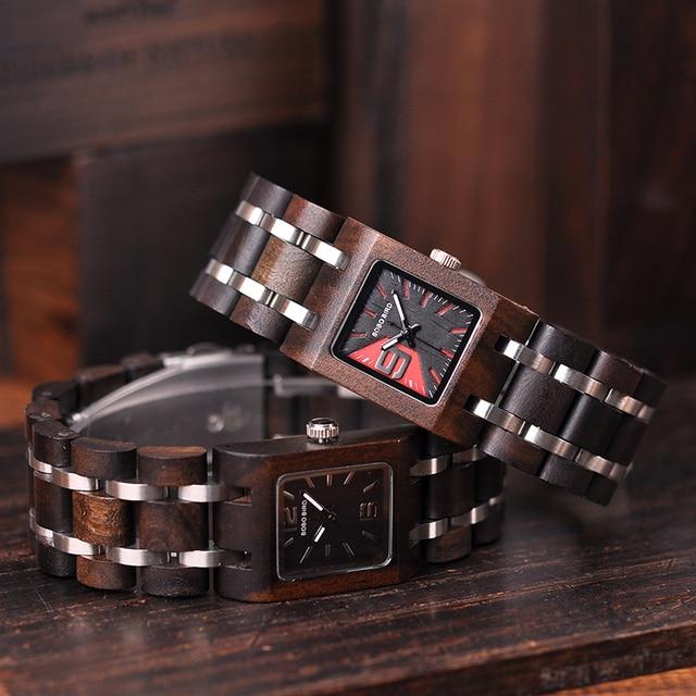 Reloj femenino de madera cuadrado pulso madera 2