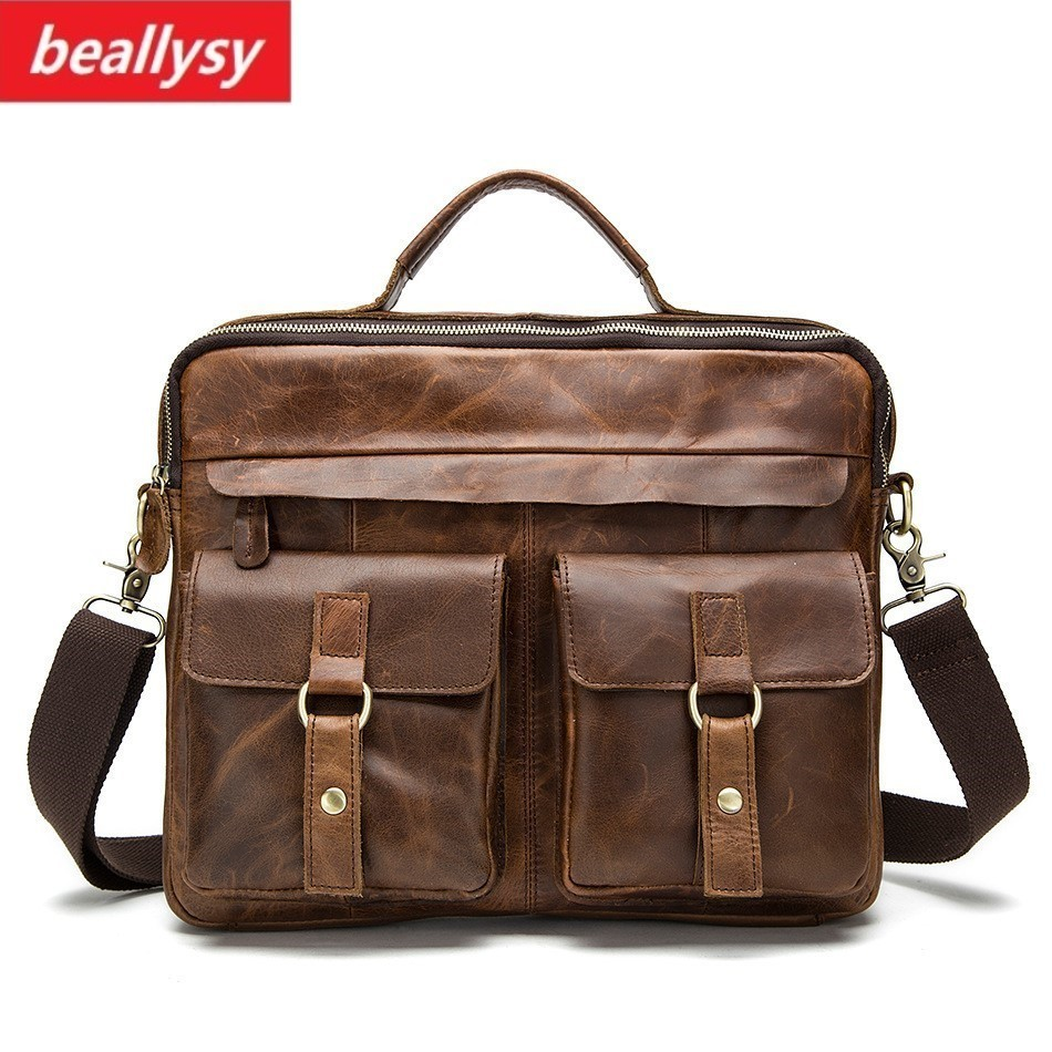 crazy horse Genuine Leather Men Bag male retro Tote Shoulder Crossbody Bag messenger mens vintage business bag Laptop Briefcases retro crazy horse genuine leather bag business laptop bag briefcase men leather crossbody bag shoulder messenger men tote bag