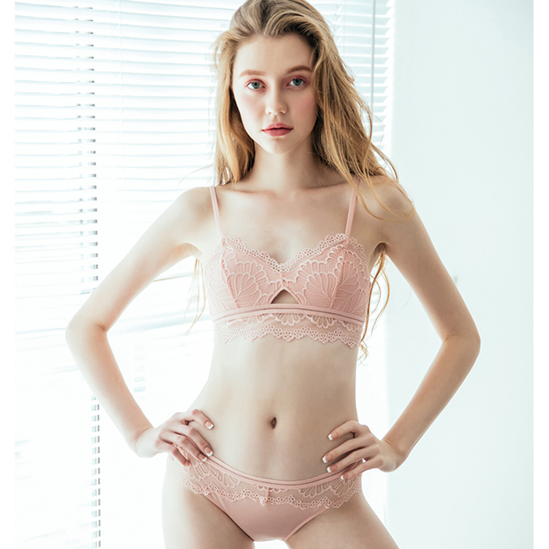 CINOON French Hot Sexy Lace Underwear Women Fashion Thin Cup Cotton Lingerie Set Wireless Comfort Bra And Panty Set