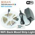 SMD 2835 RGB LED Luz de Tira 60 leds/m À Prova D' Água 300 LEDs 5 M Fita Flexível Kit + WiFi controlador + Adaptador De Alimentação DC12V