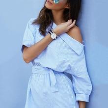купить Casual one shoulder Blue striped women shirt dress side split Elegant half sleeve waistband Fashion beach dresses short dress по цене 836.28 рублей