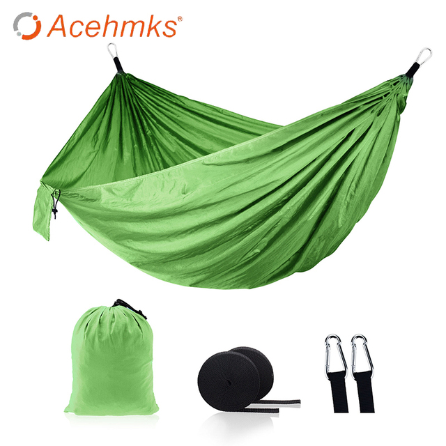 Acehmks Two-Person SwingFor Adults Nylon Parachute Fabric Portablegarden Swing Outdoor Furnitures Camping Hammock Size 270*140