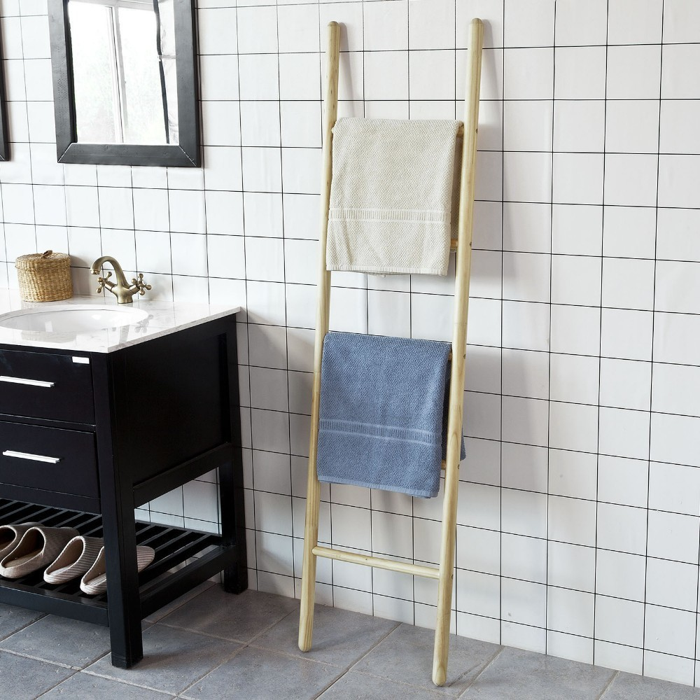 Magnificent Sobuy Frg187 N Wooden Ladder Shelf Bathroom Towel Holder Interior Design Ideas Clesiryabchikinfo