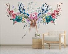 beibehang Modern minimalist papel de parede 3d wallpaper simple classic Nordic flowers American deer head floral wall background