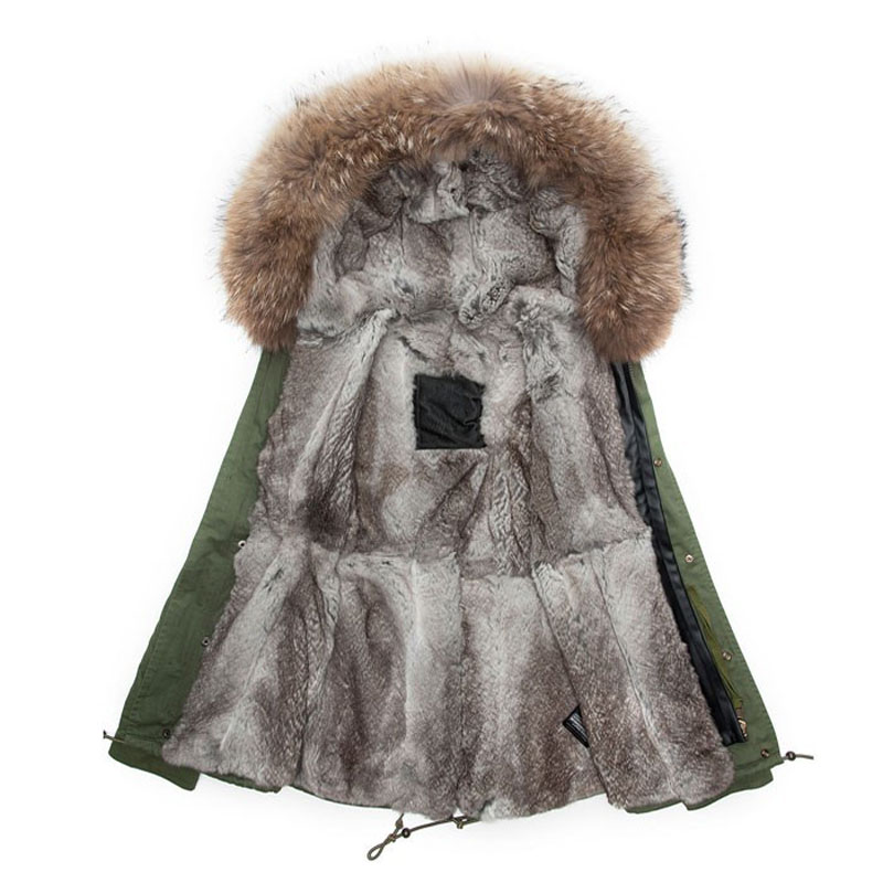 Plus Size Rex Rabbit Fur Parka Male Coats Winter Parkas Hooded Thicked Slim Jacket Male Outwear Mr Mrs Army Green furs coat