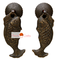 A Pair Fish Handles Drawer Knob Pull Brass Hardware Knife coins for Chinese Furniture Cabinet  Door Knocker Copper