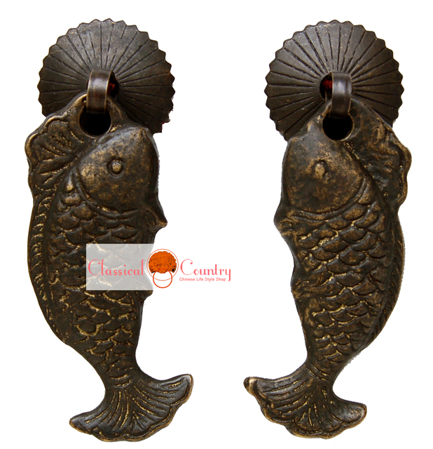 A Pair Fish Handles Drawer Knob Pull Brass Hardware Knife Coins For Chinese  Furniture Cabinet Door