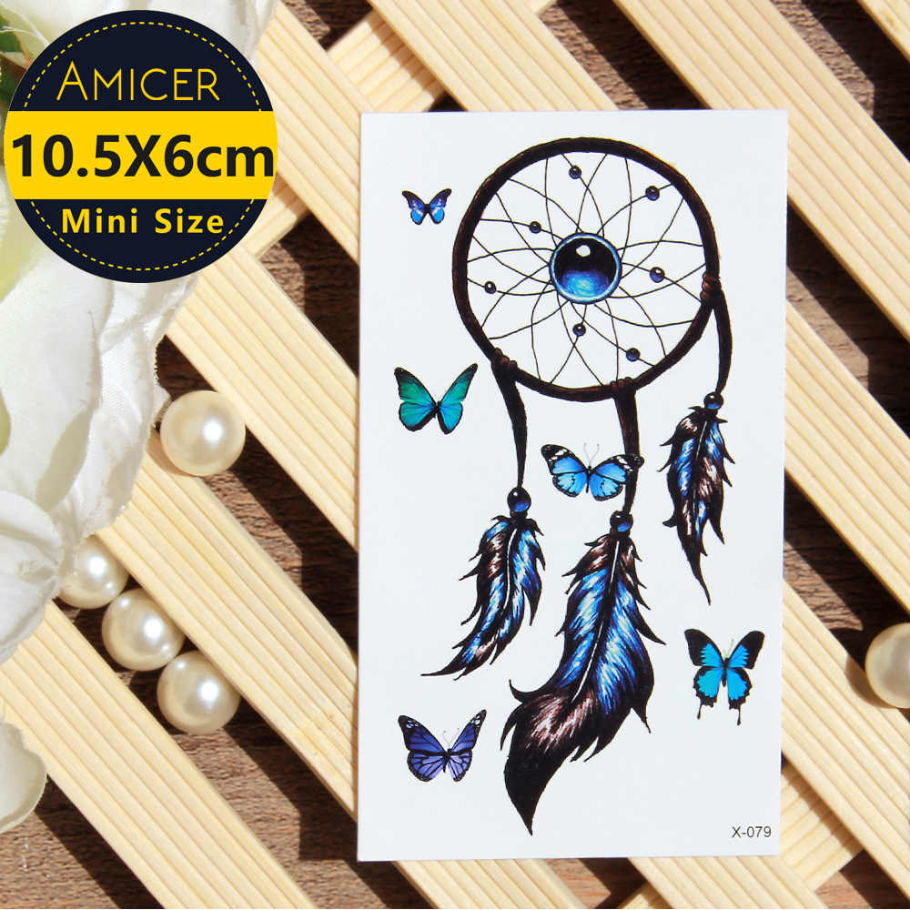 Waterproof Temporary Tattoo sticker colorful dreamcatcher butterfly dream catcher tattoo Water Transfer fake tattoo flash tattoo