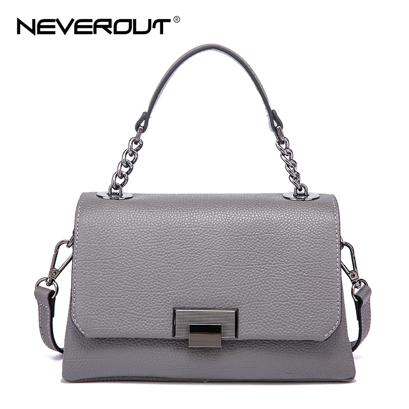NeverOut Luxury Brand Design Genuine Leather Women Messenger Bag Solid Shoulder Sac Ladies Handbags High Quality Crossbody Bags zooler 2017 new arrival genuine leather handbags woman design top quality crossbody bag luxury brand red ladies bags hs 3211