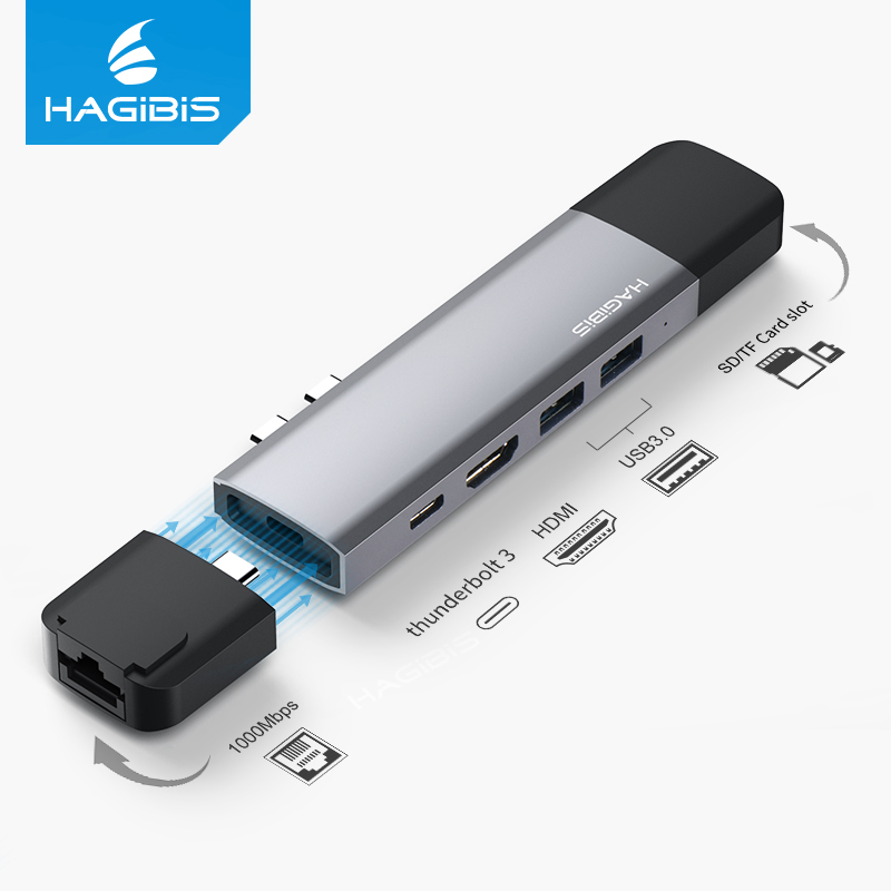 Hagibis USB C HUB USB C to HDMI RJ45 Thunderbolt 3 Adapter Type-c USB 3.0 HUB SD/TF Card Reader PD Converter for MacBook Pro doitop usb c hub multiport type c hub adapter converter with 2 usb 3 0 ports type c charging port sd tf card reader for macbook
