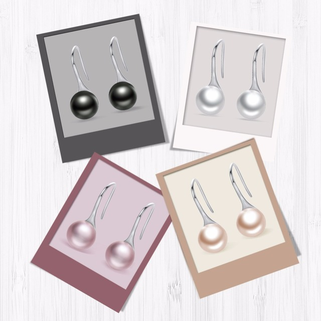 925 Sterling sølv Elegant Round Pure Love Pearl
