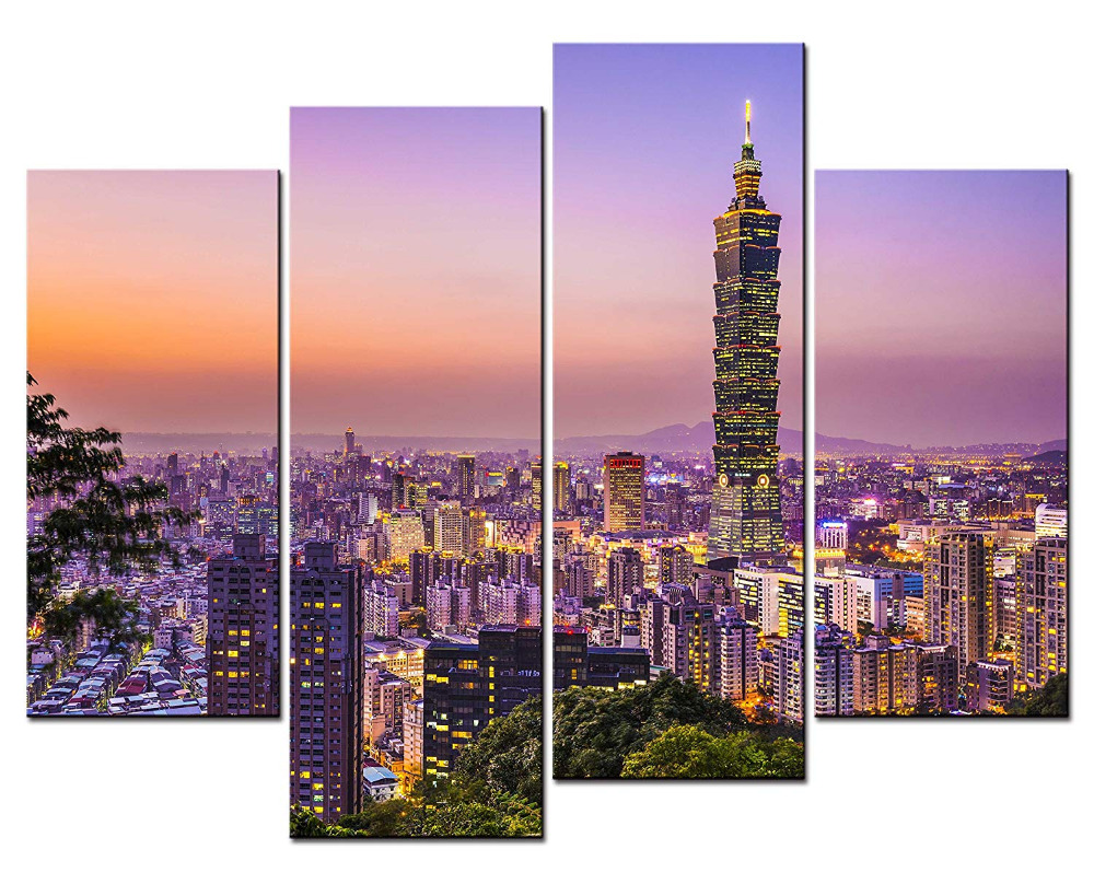 City Landscape Paintings Wall Art Taipei 101 Building Taiwan in the Dusk 4 Panel Picture Print For Home Decor Drop shipping(China)