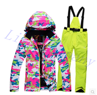 2016 Hot Sale Woman Ski Suit Winter Thickening Keep Warm Double Plate Single Board High End
