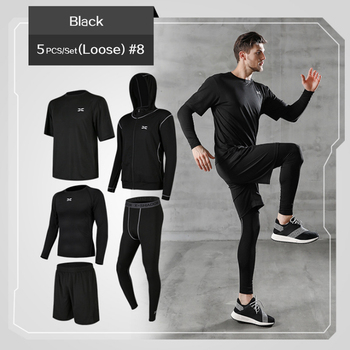5 Pcs/Set Men's Tracksuit Gym Fitness Compression Sports Suit Clothes Running Jogging Sport Wear Exercise Workout Tights 8