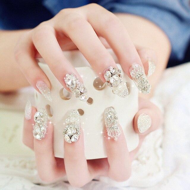 Fashion 24PCS Shining Rhinestone Wedding False Nails Transparent Glitter  Crown Designed Square Full Short Fake Nails nep nagels 03e1ad120d5a