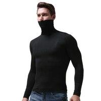 צווארון גבוה של גברים מזדמנים 3XL שריר רזה T חולצות גולף שרוול ארוך חולצות סוודר בחולצת טריקו חולצה תרמית תחתונים בתוספת גודל