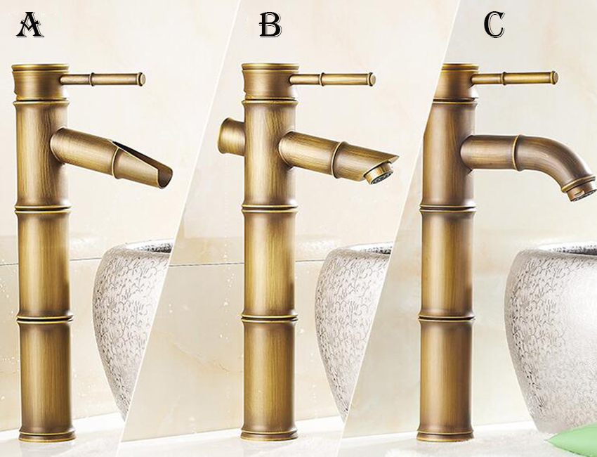 Европейский античный кран для ванной комнаты, латунный кран для раковины, высокий бамбуковый кран для горячей и холодной воды с двумя трубами, кухонный уличный садовый кран