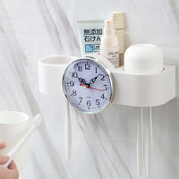 2018 new bathroom accessories toothbrush holder wallhed hanging seamless stickers toothbrush holder wash set with clock squeeze
