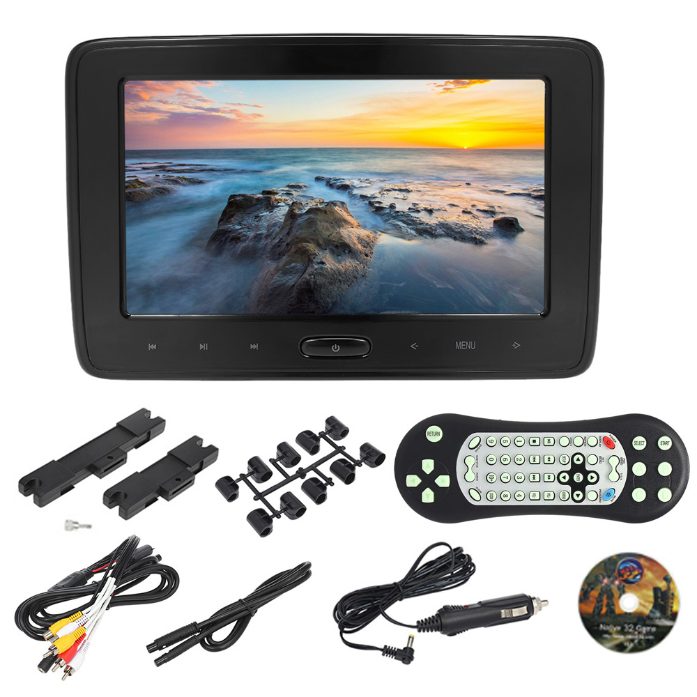 10 Inches Car Headrest DVD Player Auto Monitor 1024 600P Touch Button Support Game Disk Input