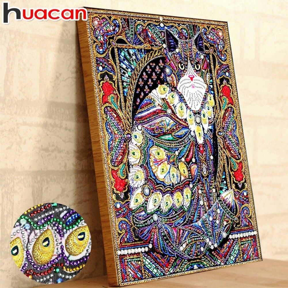 Huacan Pittura Diamante Gatto 5d Fai Da Te Diamante Ricamo Animale Parziale Rotonda Trapano Speciale A Forma di Mosaico Diamante Pittura 40x50 cm