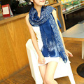 Soft Chiffon Scarf Women Silk Classical Scarves With White and Blue Print Lady Bufanda Dotted Dress Leisure Style Women Shawls