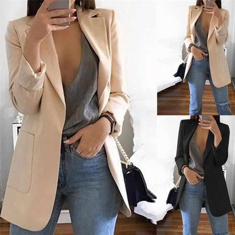 Summer Fall Styles Women Slim Casual Blazer Jacket Tops Outwear Long Sleeve Career Formal Long Coat Cardigan Pockets OL Blazers