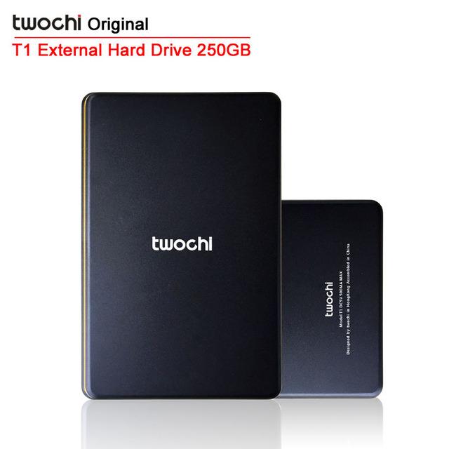 Frete grátis TWOCHI T1 Original 2.5 '' de armazenamento móvel HDD portátil de 250 GB USB2.0 External Hard Drive Disk Plug and Play