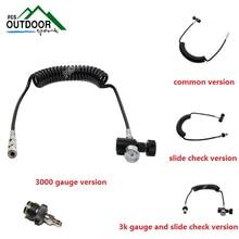 Paintball PCP Coil Remote Hose Line w/Quick Disconnect and 3000psi Mini Gauge 2.5m(extend length)