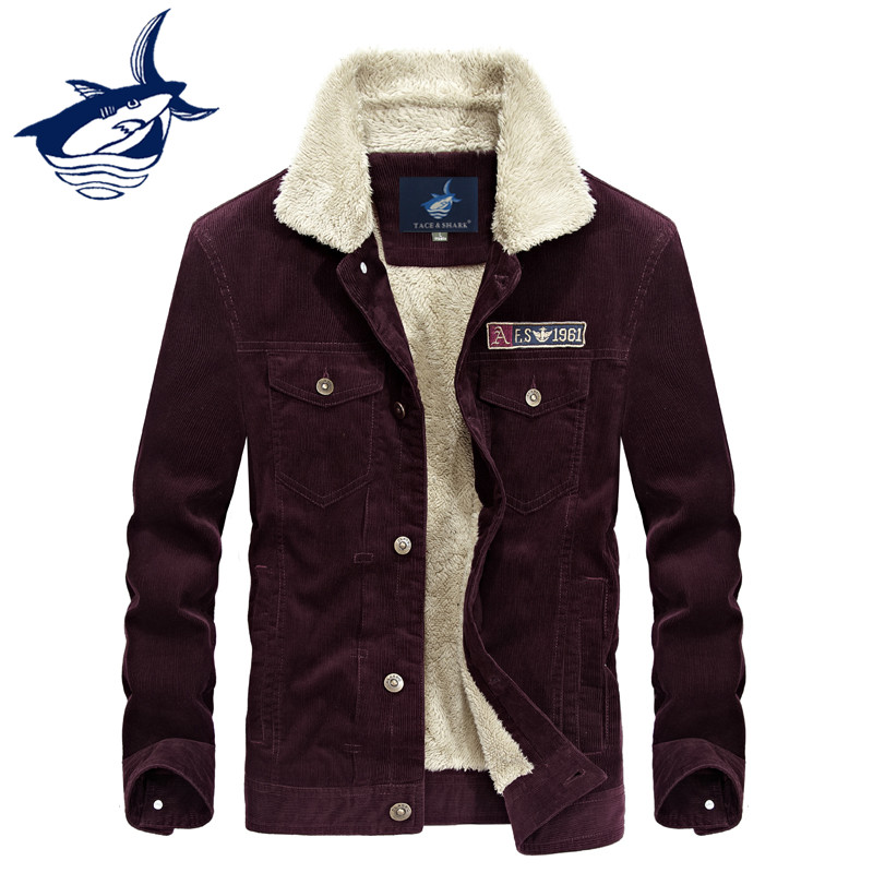 New Fashion Brand Tace & Shark Corduroy Parka Winter Jacket Men Casual Thick Warm Fleece Cotton Padded High Quality Outerwear tace