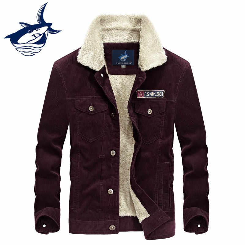 Новый модный бренд Tace   Shark Вельветовая парка зимняя куртка для мужчин  повседневное толстый теплый флис 8a6082aaec9