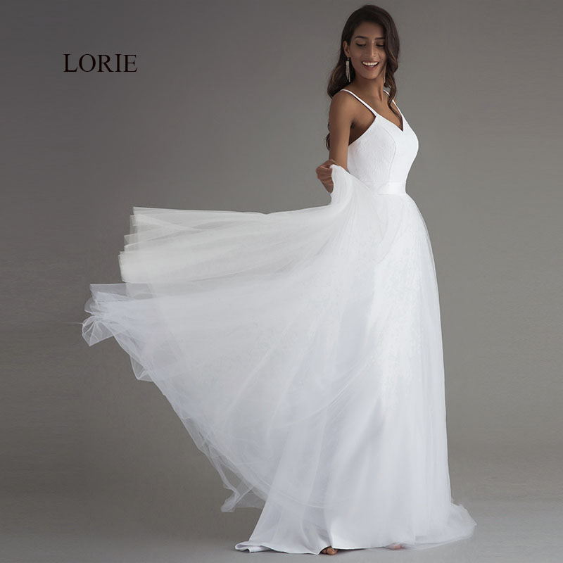 Beach Spaghetti Strap Wedding Gown: Aliexpress.com : Buy LORIE Spaghetti Strap Beach Wedding