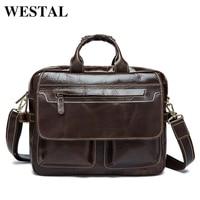 WESTAL Genuine leather men bag mens briefcase business laptop handbags men's travel bags male mens document crossbody bag 7085