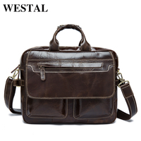 WESTAL Genuine leather men bag mens briefcase business laptop handbags men's travel bags male mens document crossbody bag 7085