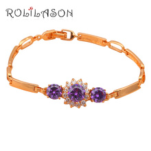 Shining Gold Tone Bracelets Zircon Design AAA Zircon & Purple Crystal Health Nickel & Lead free Fashion jewelry TB307