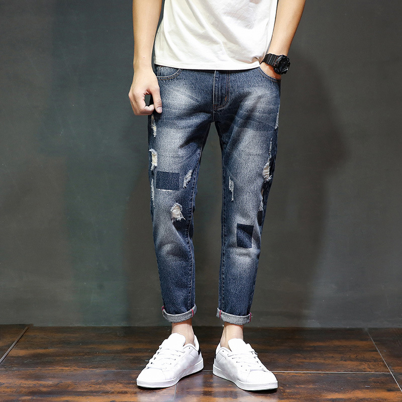Summer Fashion Brand full length Denim jeans men ripped Distressed Biker Man Casual Harem pants Hip hop hombre vaqueros new arrival men jeans hollow out ripped distressed jeans man denim blue stretch slim fit hip hop fashion casual
