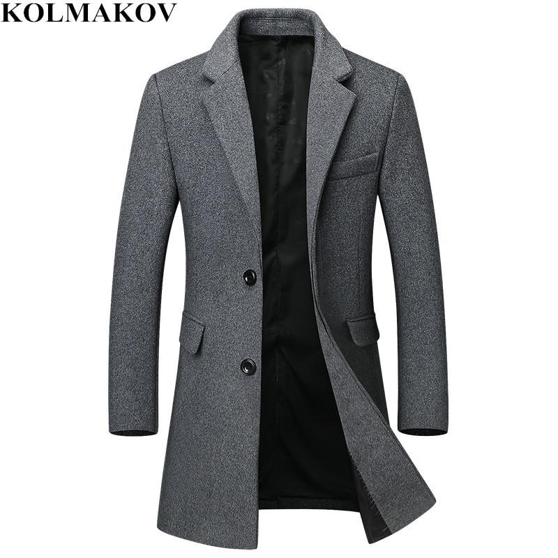2018 New Men's Woolen Coats Classic Casual Long Overcoats Autumn Winter Mens Thick Wool Windbreaker Slim Fit Plus Size M-3XL