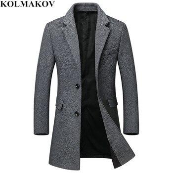 2018 nuevos hombres de lana, abrigos casuales clásicos abrigos largos Otoño e Invierno hombre grueso rompevientos de lana Slim de talla grande M-3XL