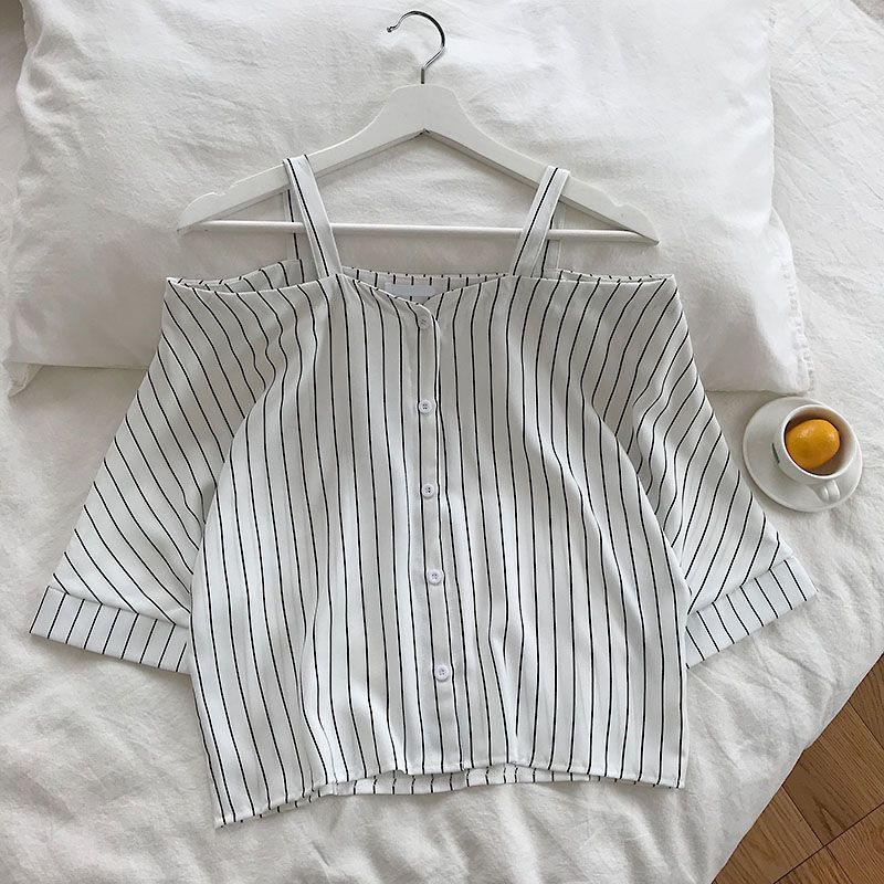 HTB1KBnWe9WD3KVjSZSgq6ACxVXaN - new fashion women's two piece set Fresh striped off-the-shoulder loose blosue top + elastic waist shorts suit