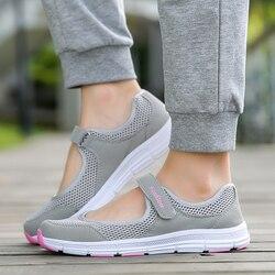Zapatillas de deporte transpirables de verano para mujer de año de edad con malla saludable planos antideslizantes para madre niñas para despertar suave señoras corriendo