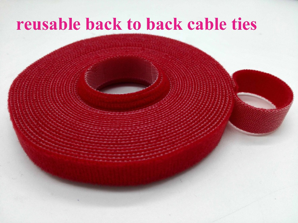 2rolls red 10mm*5M Nylon Reusable Cable Ties back to back Nylon Cable Tie Strap wrap Stick Ties Computer PC TV Wire management